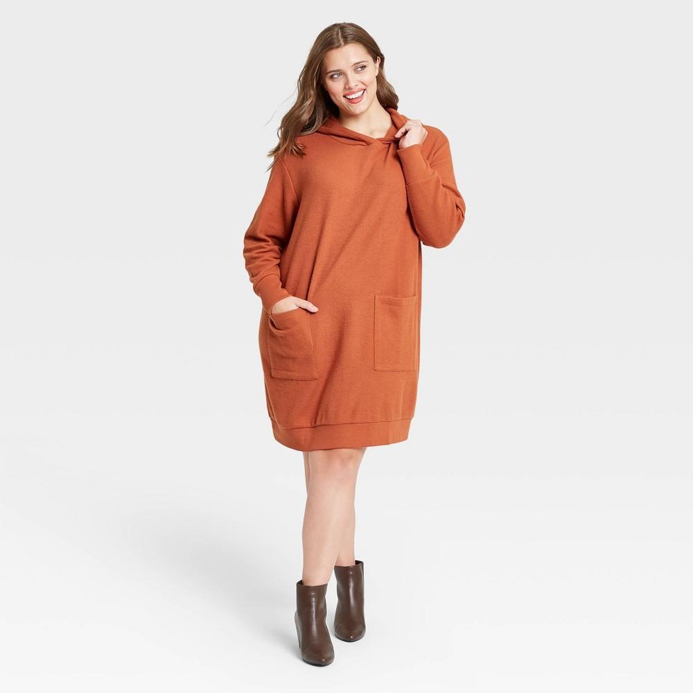 Women 39 S Plus Size Long Sleeve Dress Who What Wear 8482 Brown 1x