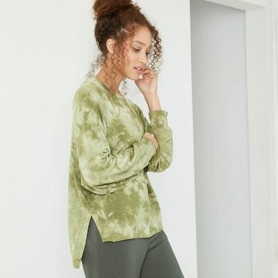 Women's Cozy Long Sleeve Sweatshirt - JoyLab™ Olive Green L