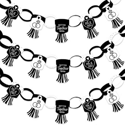 Big Dot of Happiness Mr. and Mrs. - 90 Chain Links & 30 Paper Tassels Decor Kit - Black & White Wedding or Bridal Shower Paper Chains Garland - 21 ft