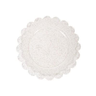 8ct Plastic Scalloped Snack Plates Gold Glitter - Spritz™