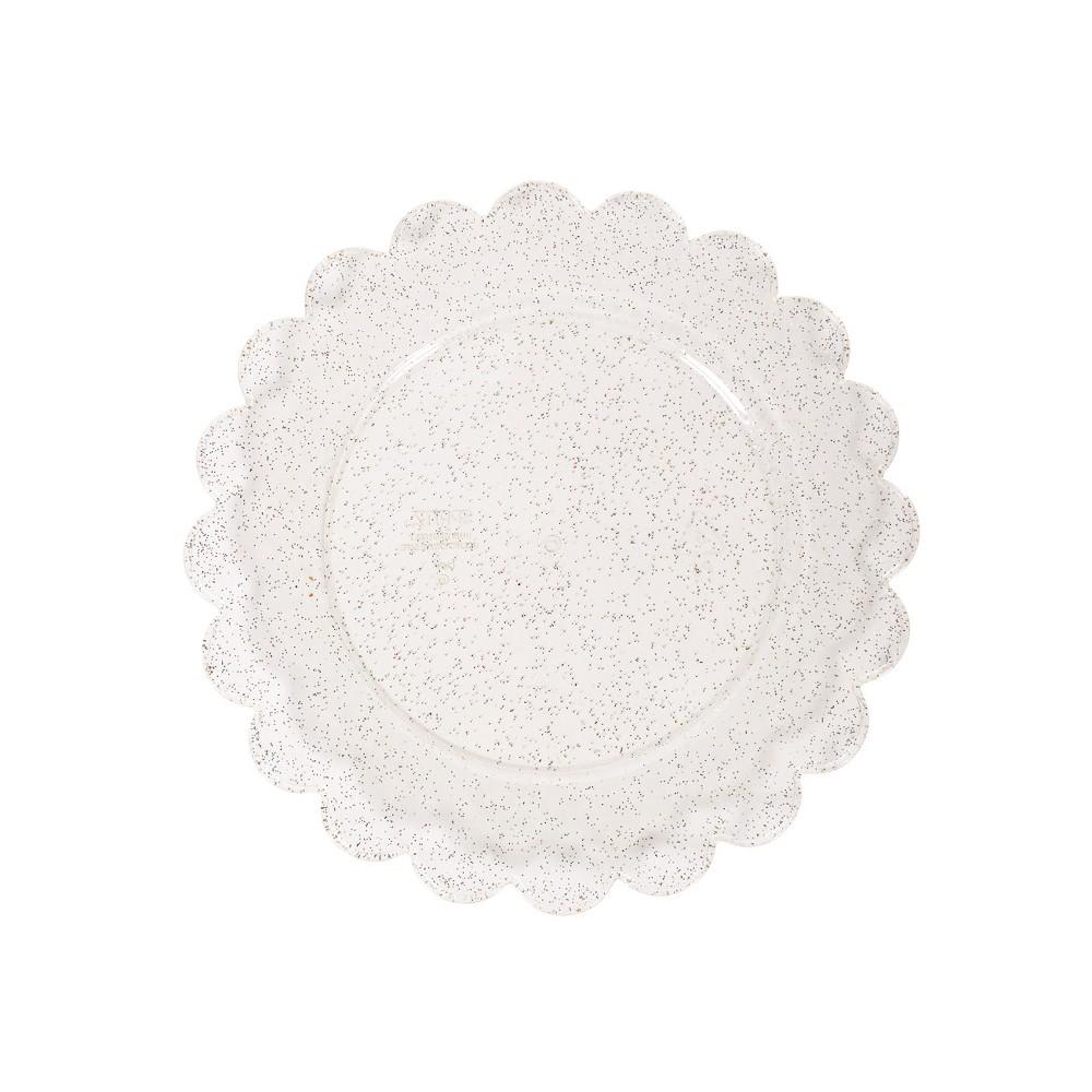 Image of 8ct Plastic Scalloped Snack Plates Gold Glitter - Spritz