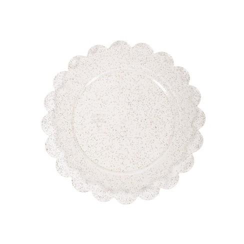 8ct Plastic Scalloped Snack Plates Gold Glitter - Spritz™ - image 1 of 1