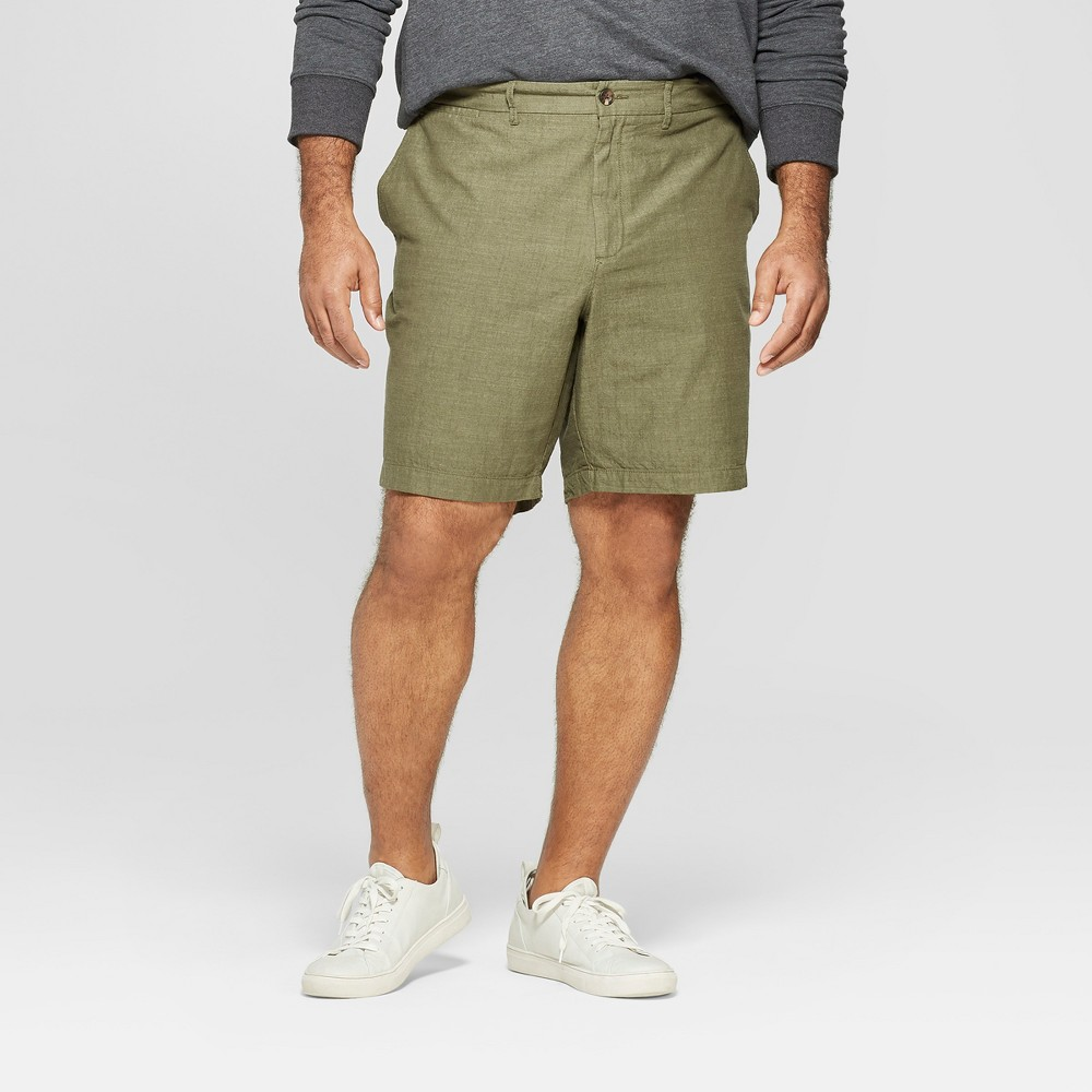 Men's Big & Tall 9 Slim Fit Chino Shorts - Goodfellow & Co Late Night Green 54