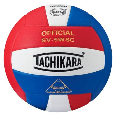 Tachikara SV-5WSC NFHS Composite Leather Volleyball, Scarlet/White/Royal