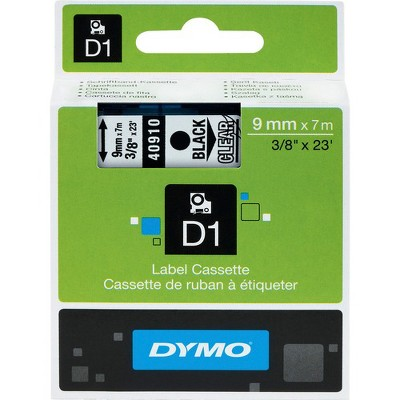 "Dymo D1 Electronic Tape Cartridge - Semi-permanent Adhesive - 3/8"" Width x 23 ft Length - Rectangle - Thermal Transfer - Clear - Polyester - 1 / Each"