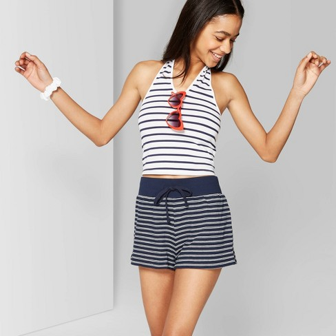 f134a66636 Women's Striped High-Rise Terry Cloth Shorts - Wild Fable™ Blue L
