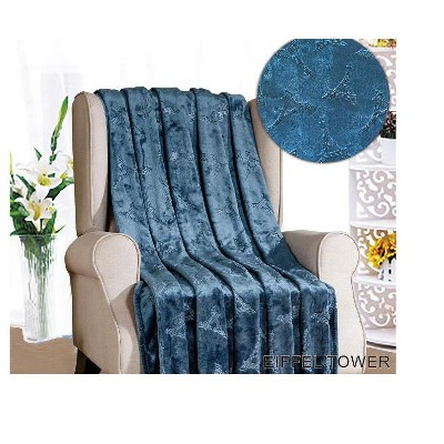 """Sheridan Paris Collection Eiffel Tower Super Warm and Cozy Embossed Flannel Throw Blanket 50"""" x 60"""""""