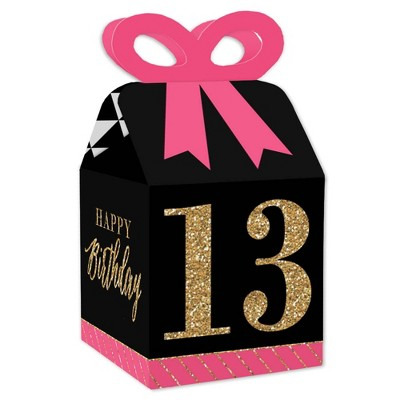 Big Dot of Happiness Chic 13th Birthday - Pink, Black and Gold - Square Favor Gift Boxes - Birthday Party Bow Boxes - Set of 12