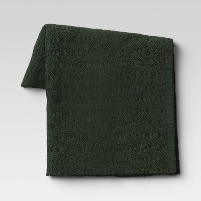 Striped Chenille Knit Throw Blanket Green - Threshold™