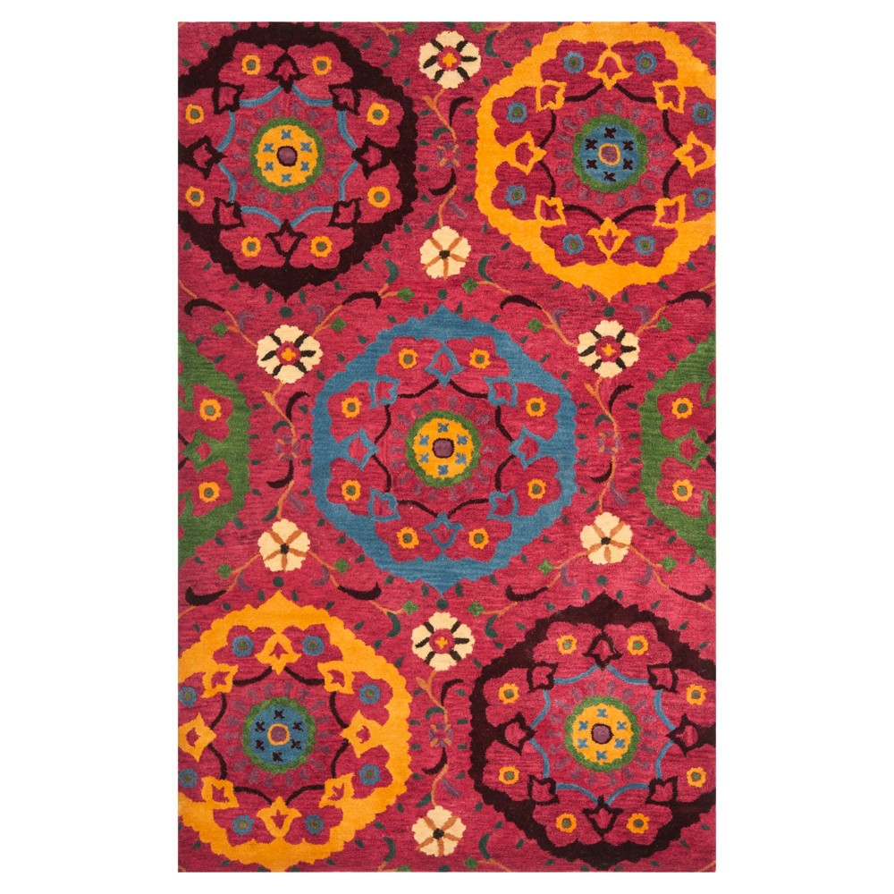 Red/Multicolor Abstract Tufted Area Rug - (5'X8') - Safavieh, Red/Multi