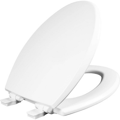 Kendall Elongated Enameled Wood Toilet Seat with Easy Clean and Slow Close Hinge White - Mayfair by Bemis