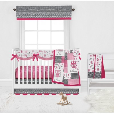Bacati - Owls in the Woods Pink Fuschia Gray 6 pc Crib Bedding Set with Long Rail Guard Cover