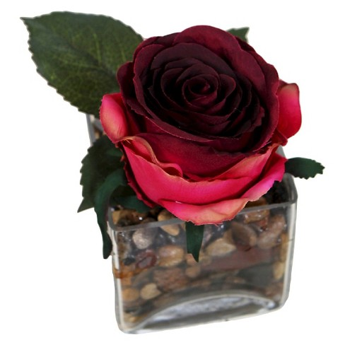 """Square Glass Artificial Arrangement - Red Rose (6"""") - image 1 of 1"""