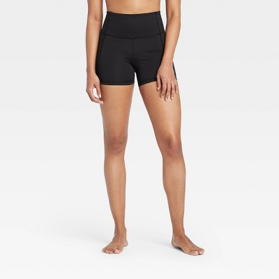 "Women's Contour Power Waist High-Rise Shorts 4"" - All in Motion™ Black"
