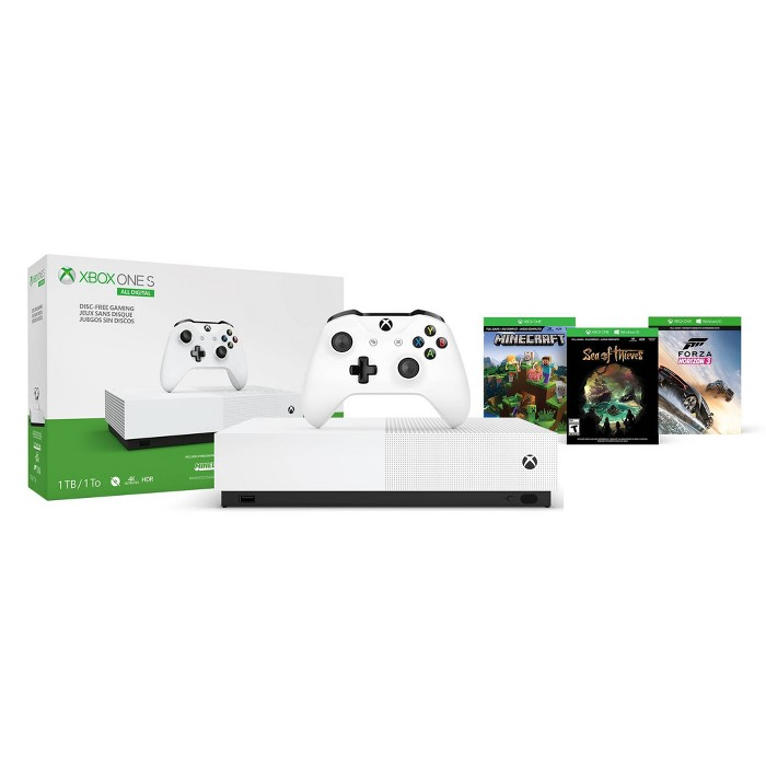 Xbox One S 1 TB All Digital Bundle with Minecraft - Sea of Thieves - Forza Horizon 3 - image 1 of 8