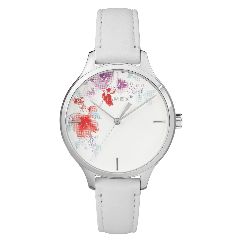 Women's Timex Crystal Bloom Watch  floral flowers silver leather