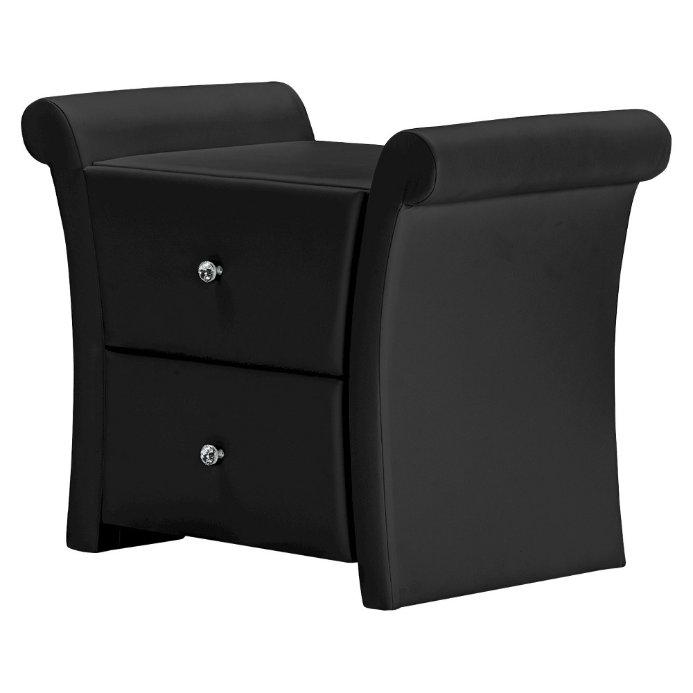 Promos Victoria Matte Faux Leather Leather 2 Storage Drawers Nightstand Bedside Table - Black - Baxton Studio