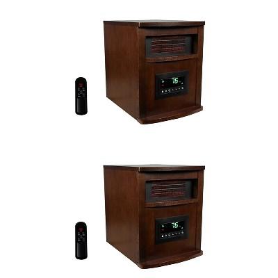 Lifesmart 6 Element 1500 Watt Electric Portable Programmable Infrared Quartz Space Heater with Remote Control, Dark Oak (2 Pack)