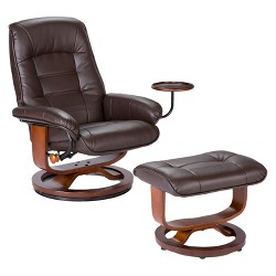 Bonded Leather Recliner & Ottoman - Brown - Aiden Lane