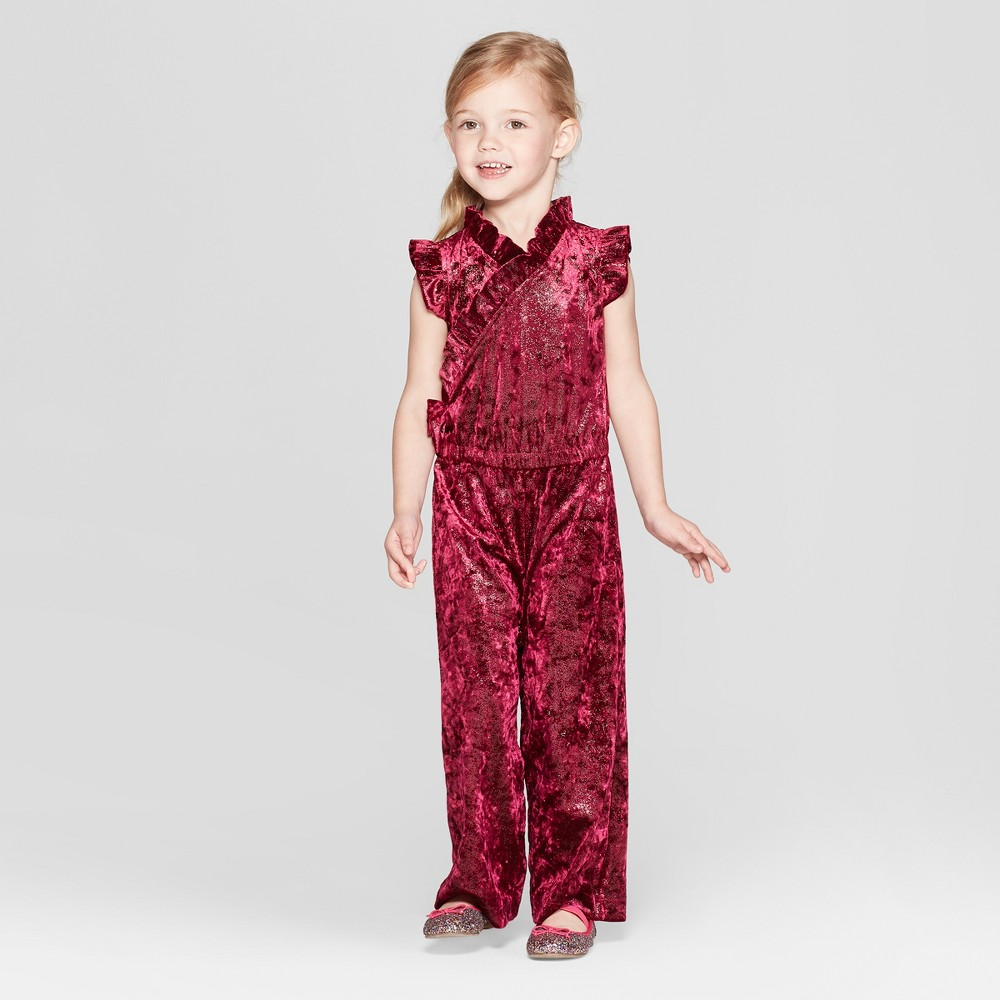 Toddler Girls' Sparkle Velour Bodysuit - Genuine Kids from OshKosh Red 2T