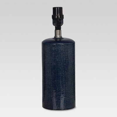 Linen Textured Ceramic Small Lamp Base Dark Blue Lamp Only - Threshold™