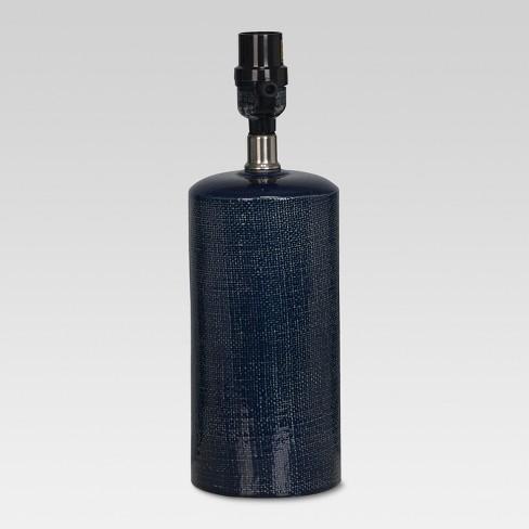 Linen Textured Ceramic Small Lamp Base Dark Blue - Threshold™ - image 1 of 1