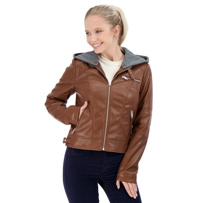 Sebby Women's Hooded Faux Leaher Jacket