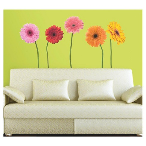 25 GERBER DAISIES Peel and Stick Giant Wall Decals - ROOMMATES - image 1 of 3