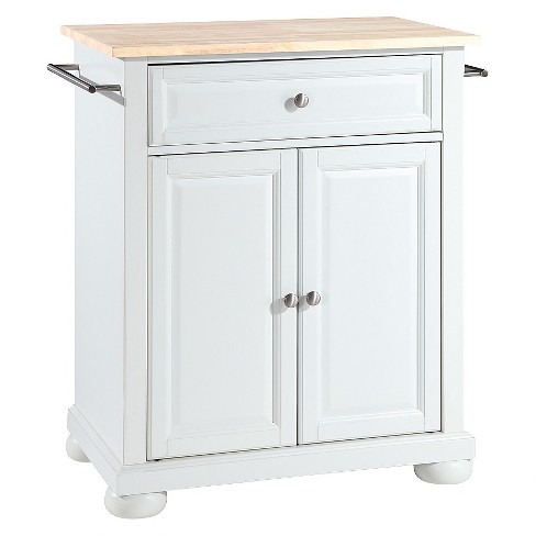 Alexandria Natural Wood Top Portable Kitchen Island White Crosley Target