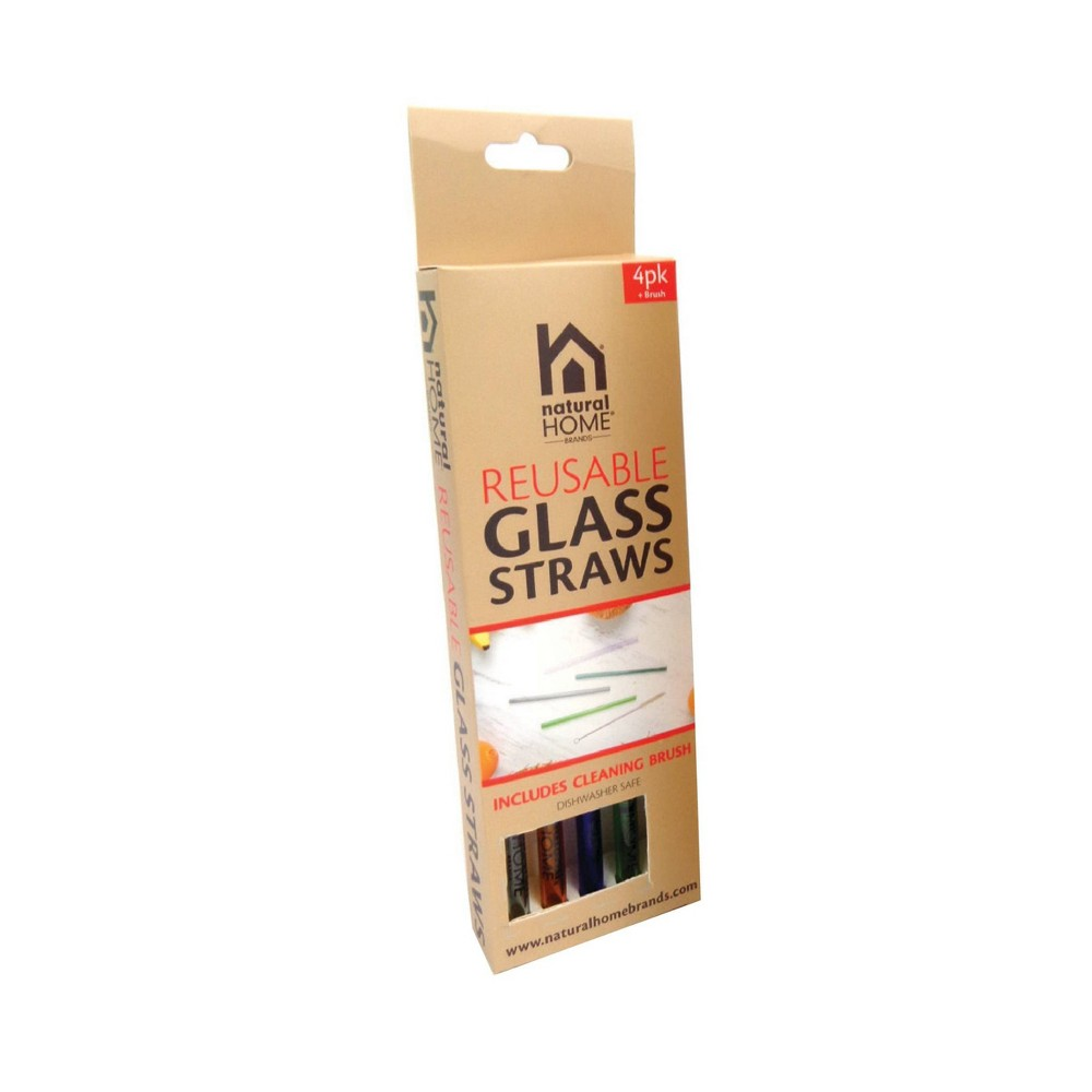 Image of Natural Home 4pk Glass Straws, Clear