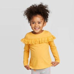 Toddler Girls' Long Sleeve Eyelet T-Shirt - Cat & Jack™ Yellow