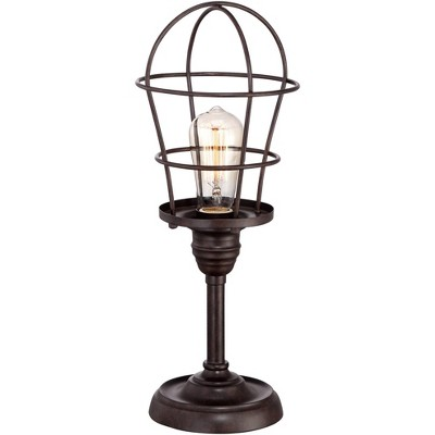 """Franklin Iron Works Modern Industrial Desk Table Lamp 17 1/4"""" High Bronze Wire Cage Edison Bulb for Bedroom Bedside Office"""