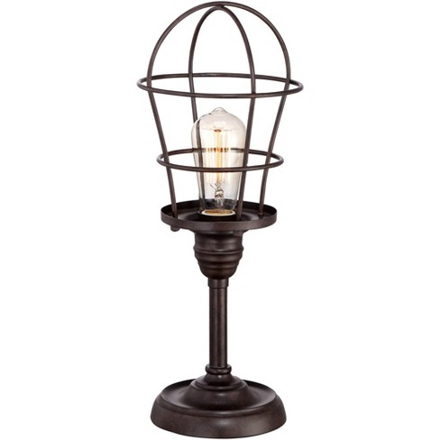 """Franklin Iron Works Modern Industrial Desk Table Lamp 17 1/4"""" High Bronze Wire Cage Edison Bulb for Bedroom Bedside Office - image 1 of 4"""