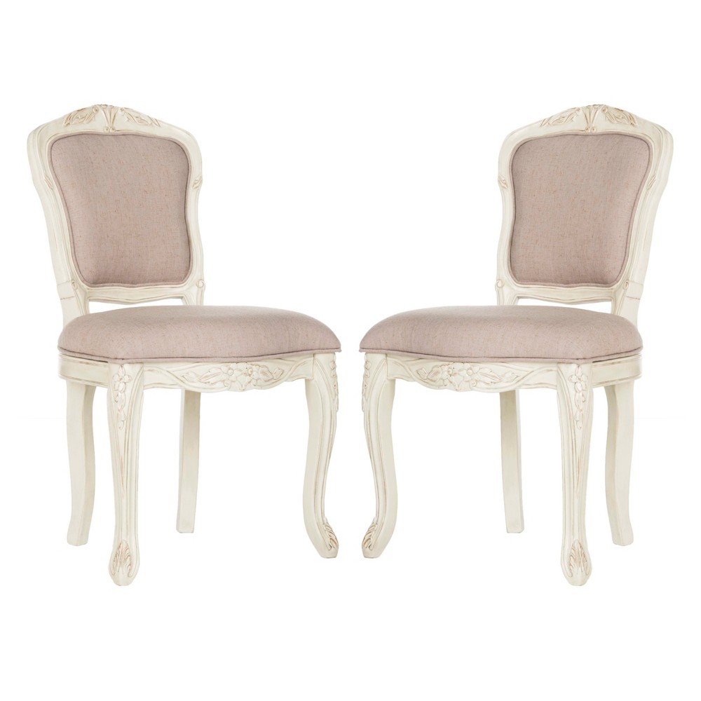 Set of 2 Dining Chairs Taupe (Brown) Vintage White - Safavieh