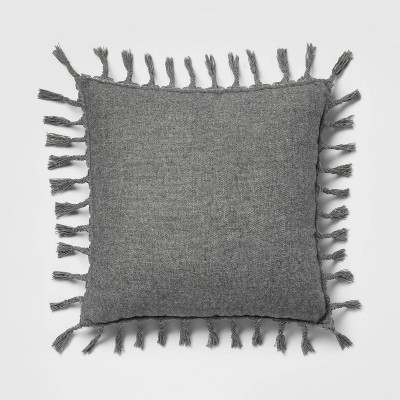 """18""""x18"""" Wool Blend with Braided Tassels Square Throw Pillow Gray - Threshold™"""