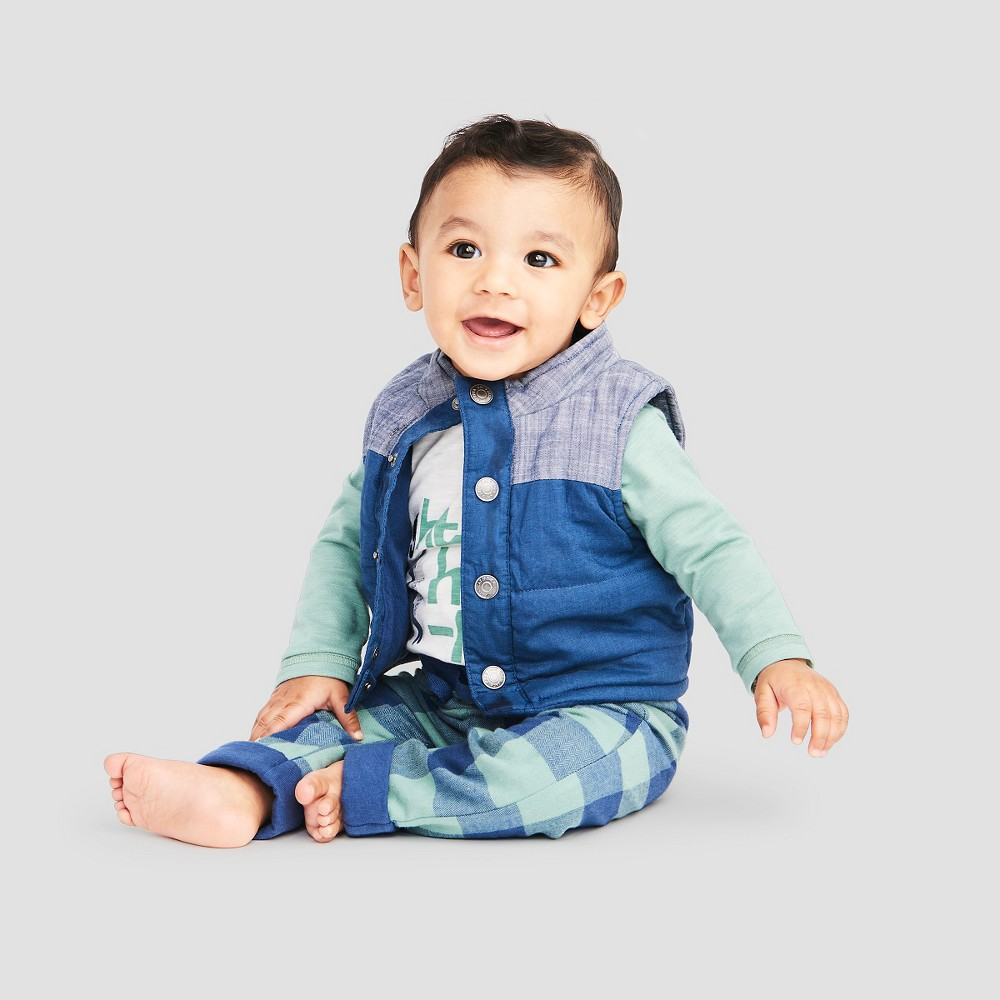 Baby Boys' Faux Vest, Raglan Bodysuit and Lined Plaid Pants - Cat & Jack Chambray/Gray 0-3M, Blue