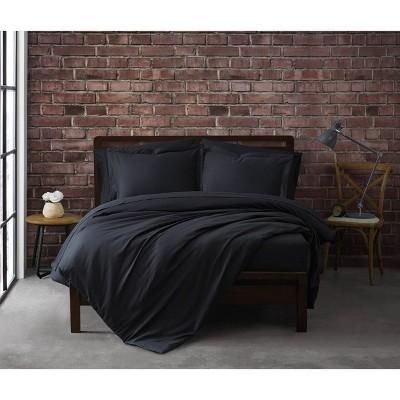King 3pc Solid Cotton Percale Duvet Cover Set Black - Sean John