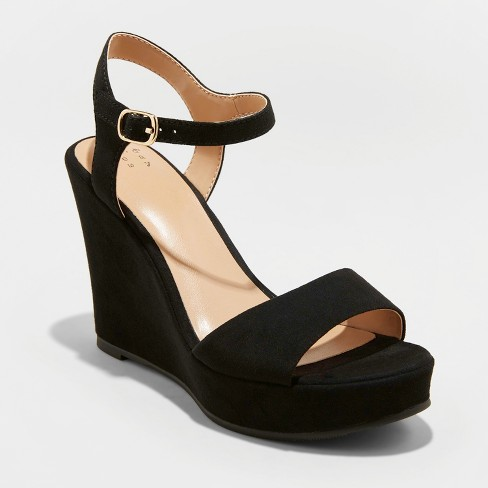 Women's Jazmine Quarter Strap Wedge Pumps - A New Day™ - image 1 of 3