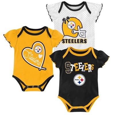 NFL Pittsburgh Steelers Baby Girls' Newest Fan 3pk Bodysuit Set - 6-9M