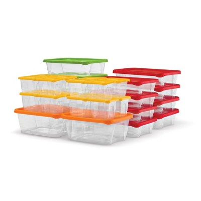 Plas Glas STP60 60 Piece Stackable BPA Free Plastic Food Storage Containers and Lids with 4 Sizes, Microwave Safe, Dishwasher Safe, and Freezer Safe