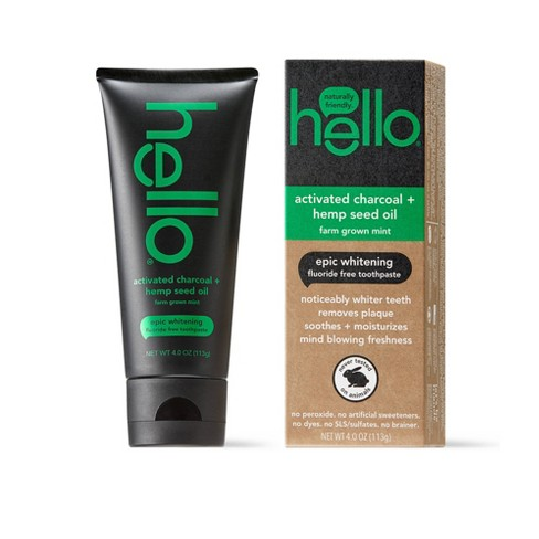 hello Activated Charcoal and Hemp Fluoride Free Toothpaste , sls Free and Vegan , 4oz - image 1 of 4