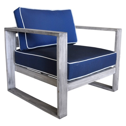 Teak Modern North Shore Outdoor Club Chair with Cushions - Driftwood Gray - Courtyard Casual - image 1 of 4