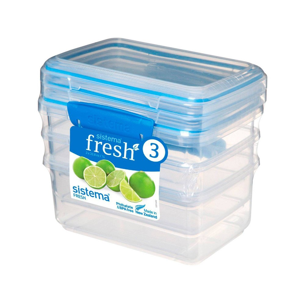 Image of Rubbermaid 3pk Plastic Rectangular Food Storage Containers, Blue Clear