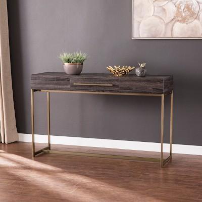 Frondi Long Console Table Black Oak/Antique Brass - Aiden Lane