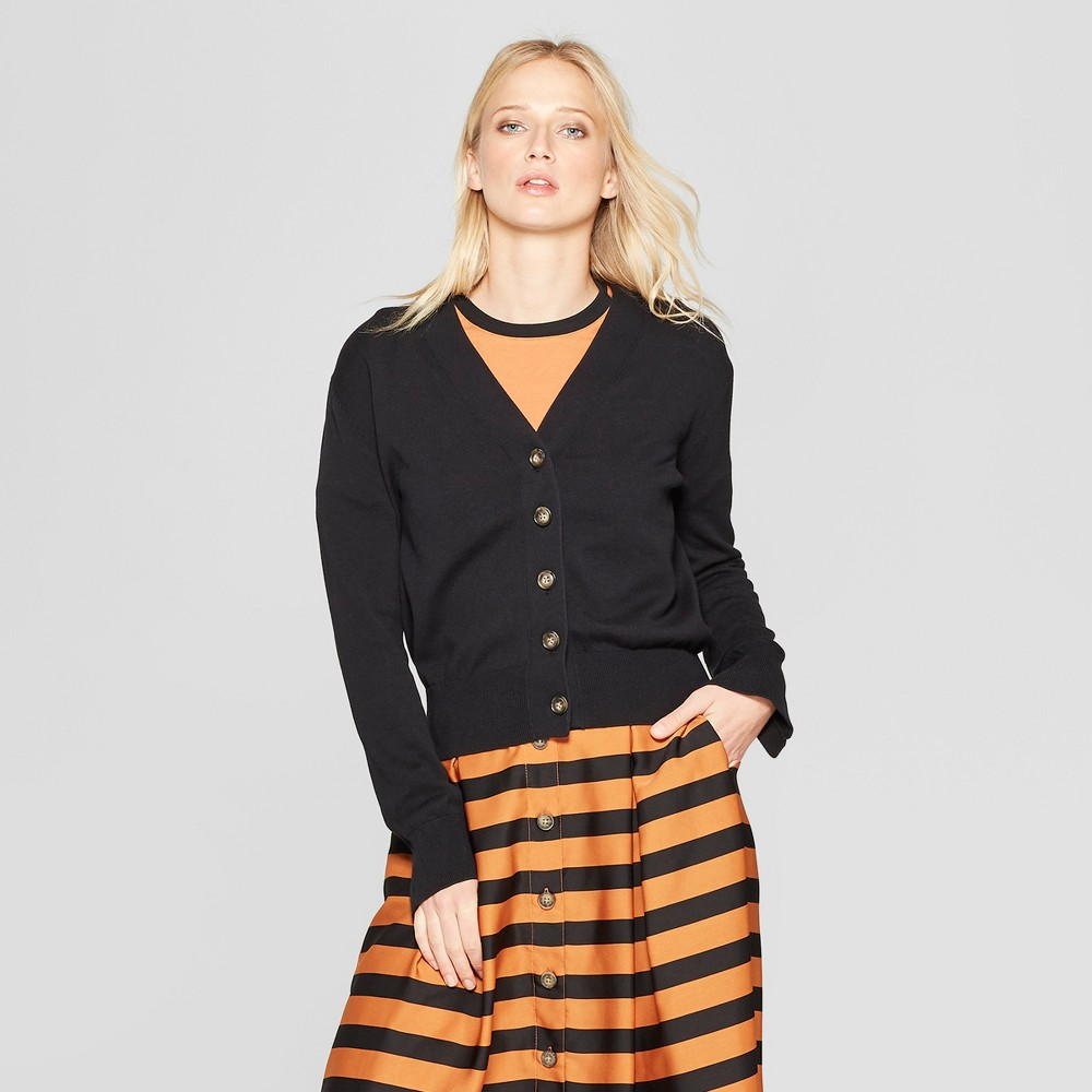 Women's Long Sleeve V-Neck Wide Placket Cardigan - Who What Wear Black S
