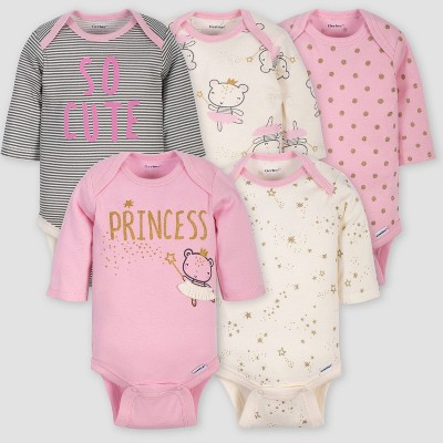 Gerber Baby Girls' 5pk Long Sleeve Princess Bodysuits - Pink/Ivory 0-3M