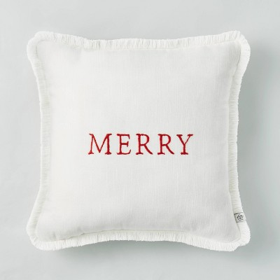 """14"""" x 14"""" Embroidered 'Merry' Decor Pillow Red/White - Hearth & Hand™ with Magnolia"""
