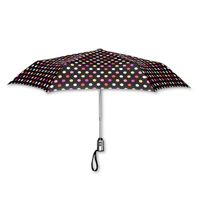 ShedRain Auto Open/Close Compact Umbrella  - Black Polka Dot