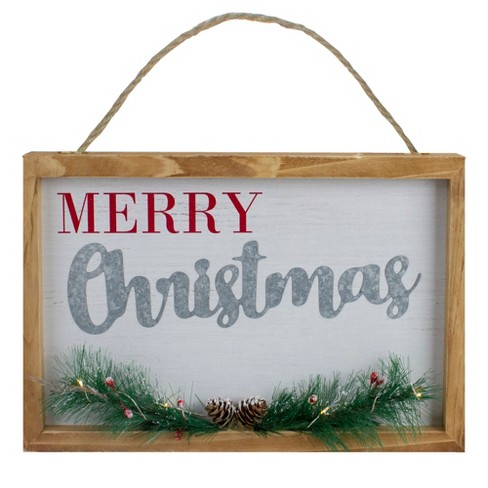 Northlight 12 Led Lighted Merry Christmas Framed Wall Sign With Pine Target