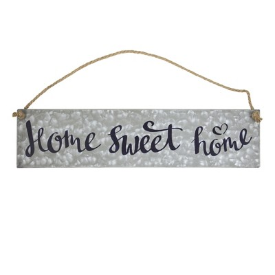 "11"" x 20"" Home Sweet Home Galvanized Metal Vintage Hanging Wall Sign with Rope Gray - American Art Decor"